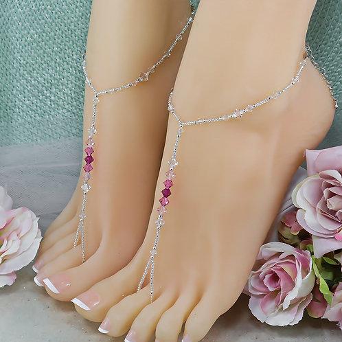 Aura - Swarovski Pink Bead Barefoot Sandal