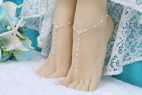 Summer - Silver Crystal Bead Pearl Barefoot Sandal
