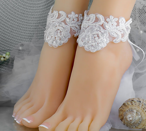 1 Pair Left White Lace Bridal Ankle Cuff