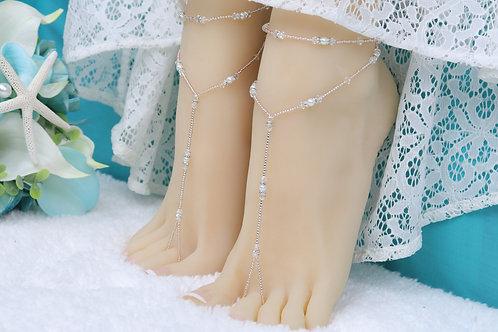 Anahita - Light Rose Gold Swarovski Barefoot Sandal