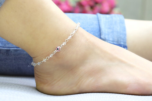 Anklet - Red Evil Eye Crystal Bead