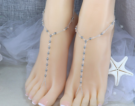 Cassidy - Silver Pearl Crystal Barefoot Sandal