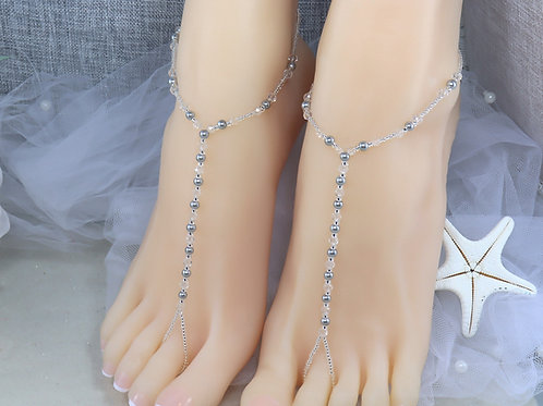 Cassidy - Pearl Crystal Barefoot Sandal