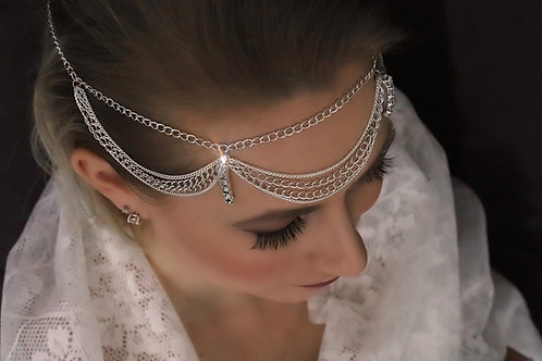 Alexandra - Silver Chain Rhinestone Head Jewelry