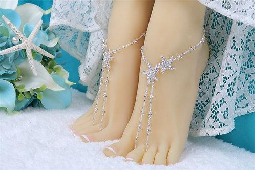 Celine II - Swarovski Crystal Starfish Barefoot Sandal