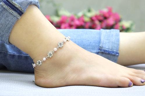 Anklet - Light Pink Silver Flower