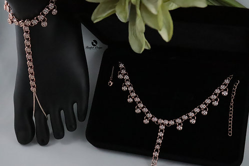 Cliona 2 - Rose Gold Cubic Zirconia Barefoot Sandal