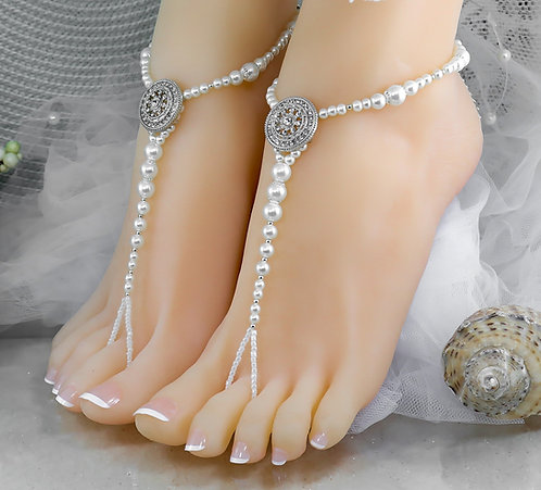 2 Pairs Left Tiffany Pearl Barefoot Sandal