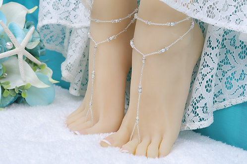 Anahita - Silver Swarovski Barefoot Sandal