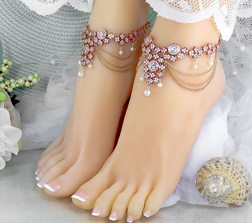 Sequana - 2 PC Rose Gold Cubic Zirconia Drop Anklets