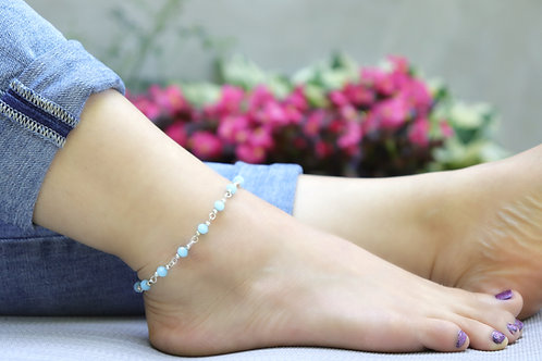 Anklet - Turquoise Silver Bead