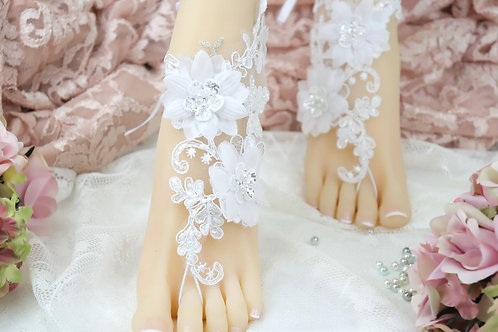 Sofia - White Lace Barefoot Sandal