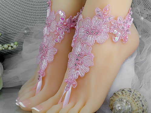 1 Pair Left Kandy Pink Lace Barefoot Sandal