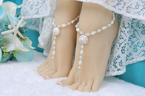 Ellie - Real Shell Barefoot Sandals