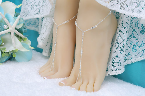 Anahita II - Silver Swarovski Barefoot Sandal