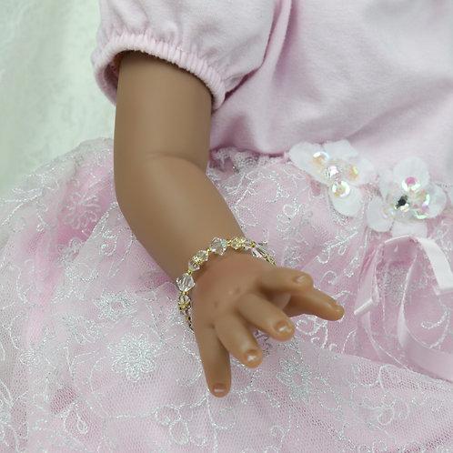 Lillie II Gold - Newborn Baby Swarovski Crystal Bracelet