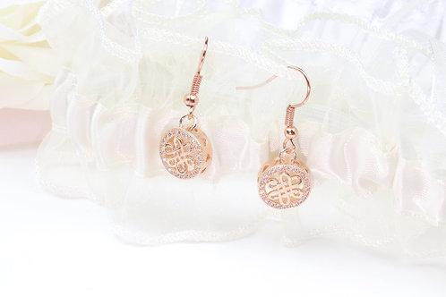 Sarah - Rose Gold CZ Filigree Earrings