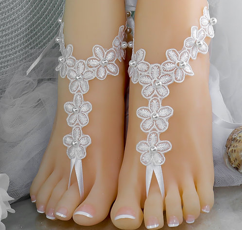Daisy - White or Ivory Lace Barefoot Sandal