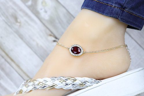 Anklet - Rose Gold Ruby Red