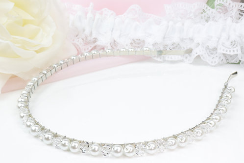 Head Band - Simple Pearl And Crystals