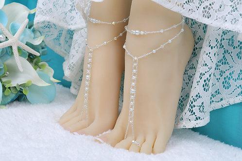 Leah - Pearl AB Crystal Barefoot Sandal