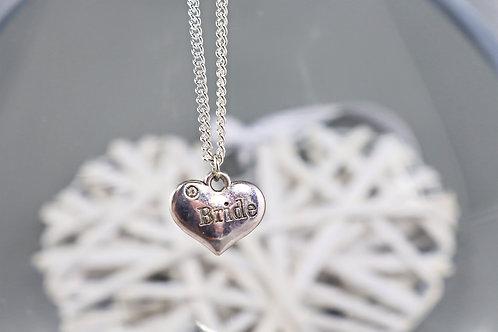 Necklace - Silver Bride Heart Charm
