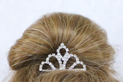 Tiara - Silver Heart Rhinestone Hair Comb