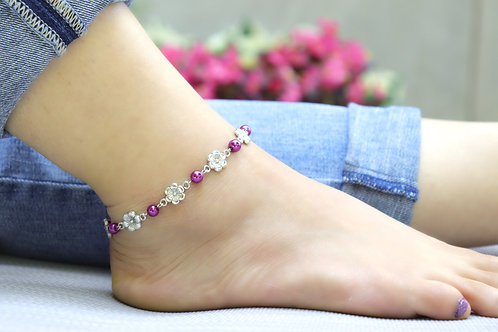Anklet - Purple Silver Flower