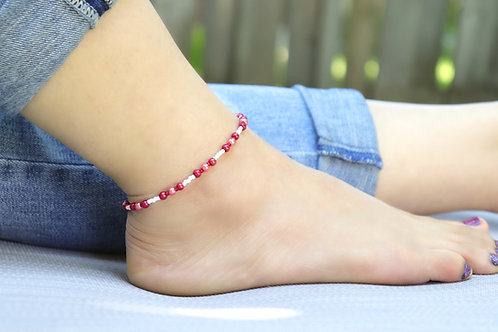 Anklet - Red/Rose Pearl