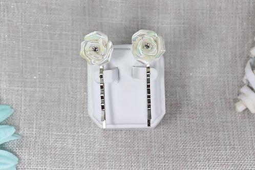 2 PC Hair Pin Set - White Ceramic Rose
