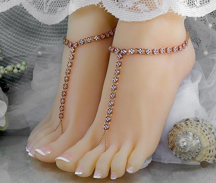 Cliona IV - Rose Gold Cubic Zirconia Barefoot Sandal