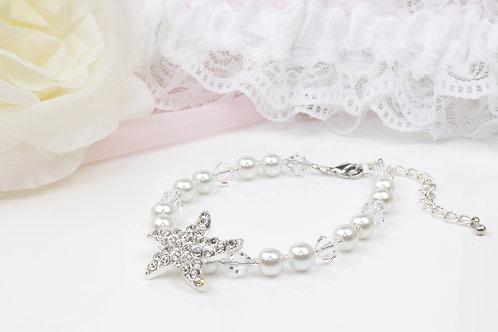 Tessa - Crystal Pearl Starfish Rhinestone Bracelet