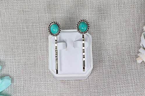 2 PC Hair Pin Set - Antique Silver Turquoise Stone