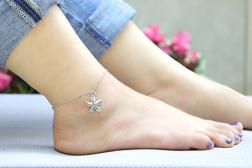 Anklet - Silver Starfish Charm