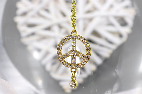 Necklace - Gold Rhinestone Peace Charm
