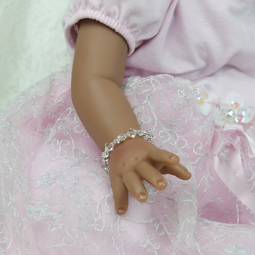 Lillie II Silver - Newborn Baby Swarovski Crystal Bracelet