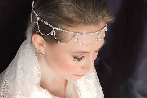 Chloe - Crystal Rhinestone Silver Chain Hair Jewelry