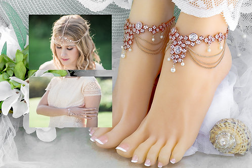 The Sequana - Rose Gold Cubic Zirconia Ankle, Hand & Head Set