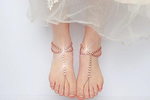 Cliona III - Rose Gold Cubic Zirconia Barefoot Sandal