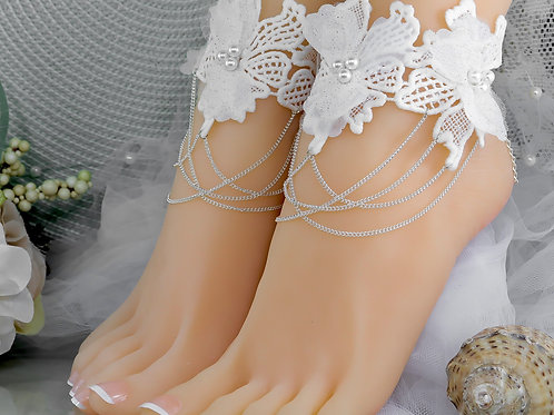 1 Pair Left Gabrielle Ivory Lace Ankle Cuff Silver Chain