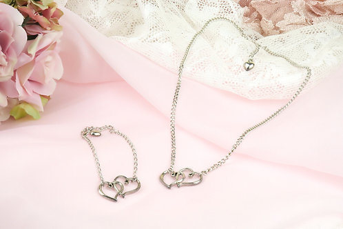 Silver Platinum Double Heart Gift Set - 2 PC