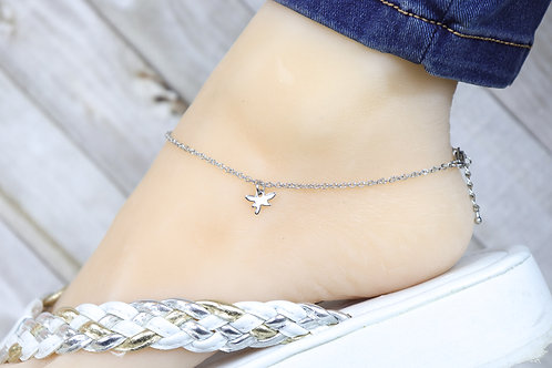 Anklet - Silver Mini Dragonfly Charm
