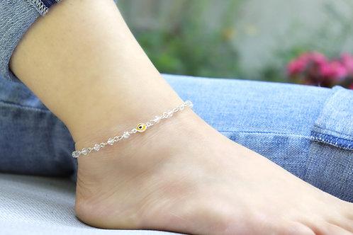 Anklet - Yellow Evil Eye Crystal Bead