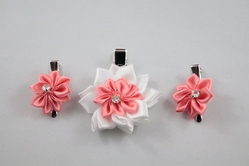 Coral - Satin Flower Hair Clips 3 PC Set