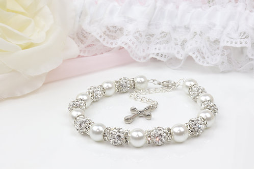 Sadie II - Rhinestone Cross Pearl Bracelet