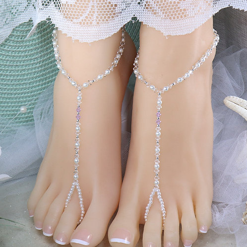 Maya - Crystal Bead Barefoot Sandal