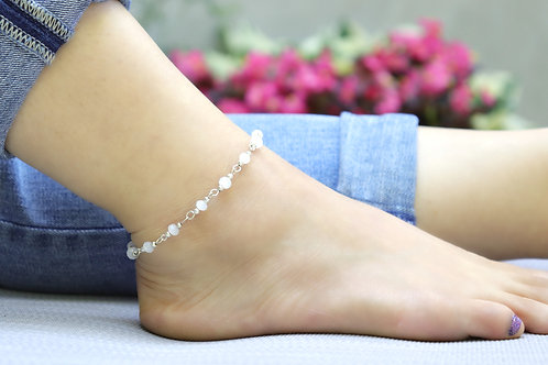 Anklet - Frosted White Silver Bead