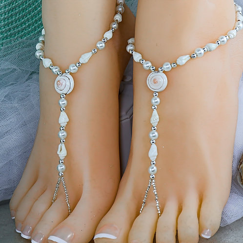 Signature Seashell - Cream/White Shell Barefoot Sandal