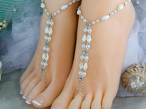 Adella - Real Seashell Barefoot Sandal