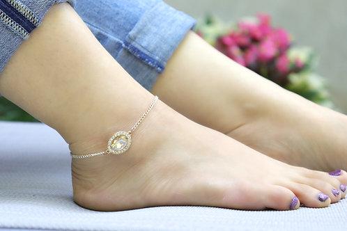 Anklet - Rose Gold Light Topaz
